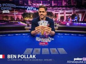 蜗牛扑克:Benjamin Pollak取得美国扑克公开赛第六项赛事冠军