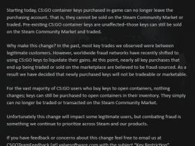【蜗牛电竞】CSGO 10.29游戏更新:钥匙不再进入Steam交易市场