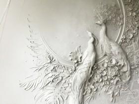 【蜗牛扑克】俄罗斯艺术家浮雕壁画 浮雕壁饰孔雀栩栩如生