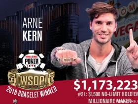 蜗牛扑克:Arne Kern赢得2018 WSOP $1,500百万富翁赛事胜利