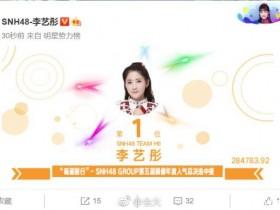 【蜗牛扑克】SNH48总决选结果公布,李艺彤人气爆棚,超高票数斩获第一!