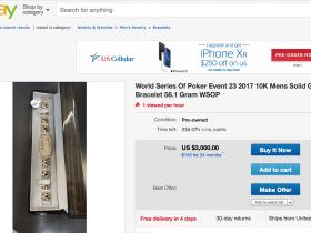 【蜗牛扑克】2017 WSOP马拉松赛事金手链惊现eBay,起拍价$3,000