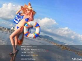 【蜗牛扑克】正点玉藻前泳装 16岁童颜巨乳大长腿的FGO辣妹