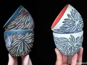 【蜗牛扑克】彩纹陶瓷雕刻五彩缤纷 朴实陶瓷杯藏着炫丽色彩
