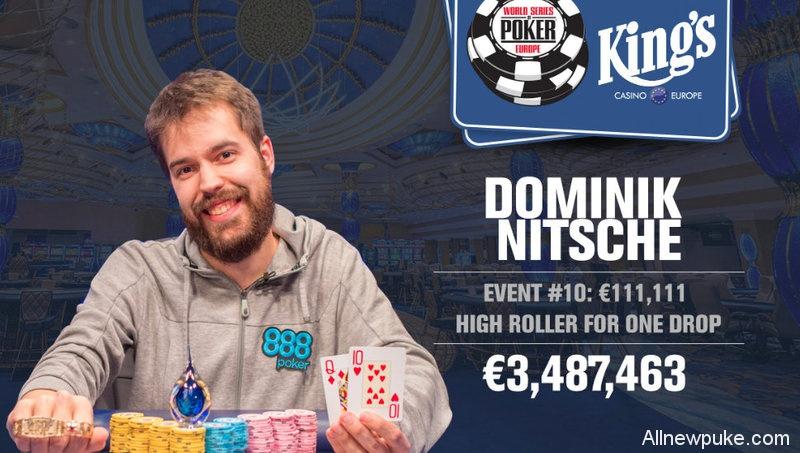 蜗牛扑克:Dominik Nitsche取得2017 WSOPE1,111一滴水豪客赛冠军