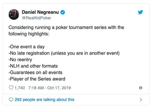 【蜗牛扑克】Daniel Negreanu有意推出全新扑克系列赛