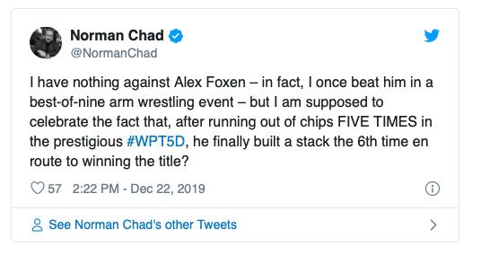 【蜗牛扑克】Alex Foxen利用无限再买入赛制优势斩获WPT五钻扑克赛冠军!