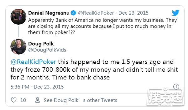 【蜗牛扑克】Sontheimer因职业扑克玩家身份被银行关闭账户