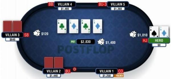 【蜗牛扑克】德州扑克在普通公共牌面游戏暗三条
