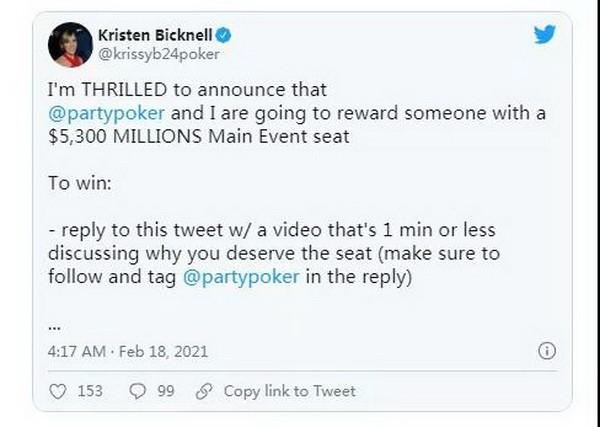 【蜗牛扑克】告诉Kristen Bicknell你的扑克故事,赢取百万赛席位