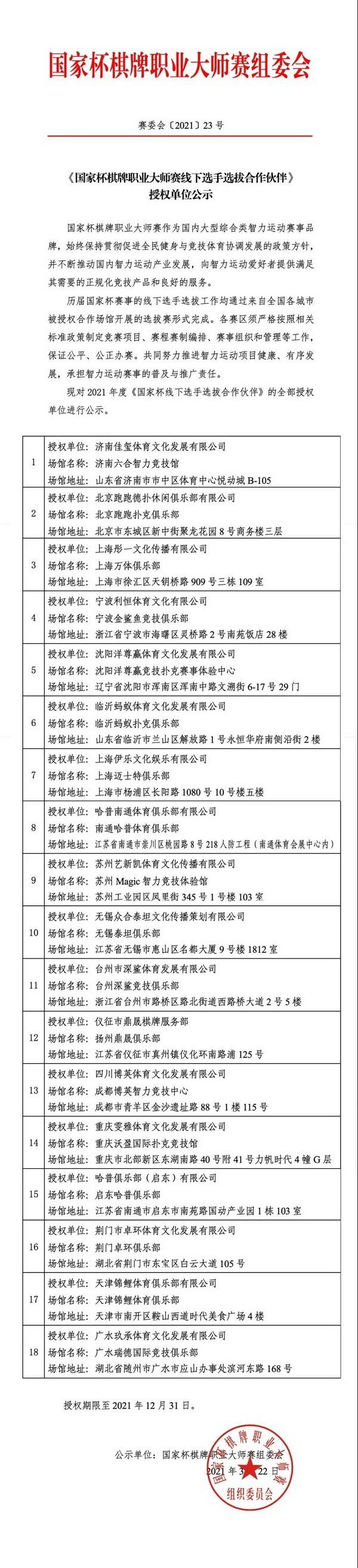 【蜗牛扑克】《国家杯棋牌职业大师赛线下选手选拔合作伙伴》授权单位公示
