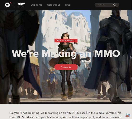 【蜗牛电竞】拳头官宣《英雄联盟》世界观MMO正在开发 招聘页面开启
